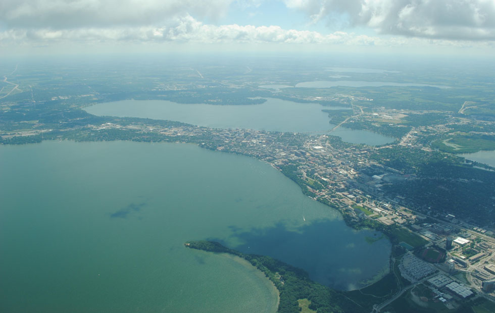 aerial of Yahara watershed in Wisconsin