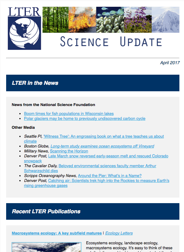 April LTER Science Update Newsletter