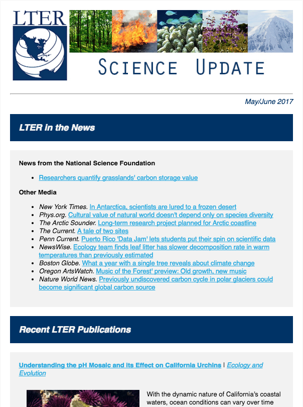 August LTER Science Update Newsletter